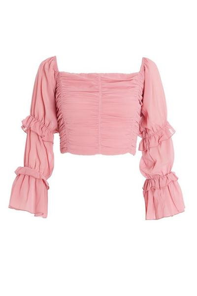 Pink Chiffon Crop Top