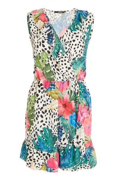 Multicoloured Tropical Print Skater Dress