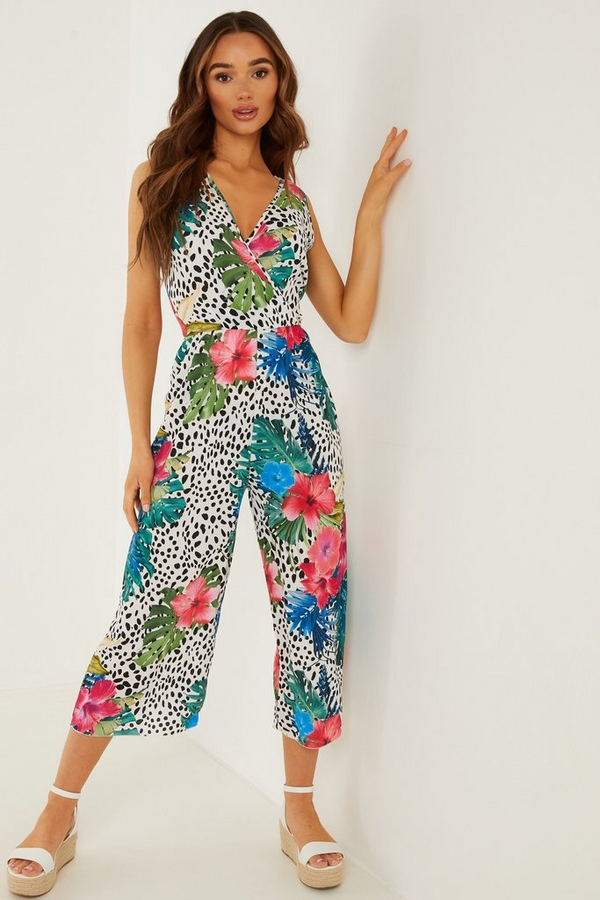 Multicoloured Tropical Print Culotte Jumpsuit