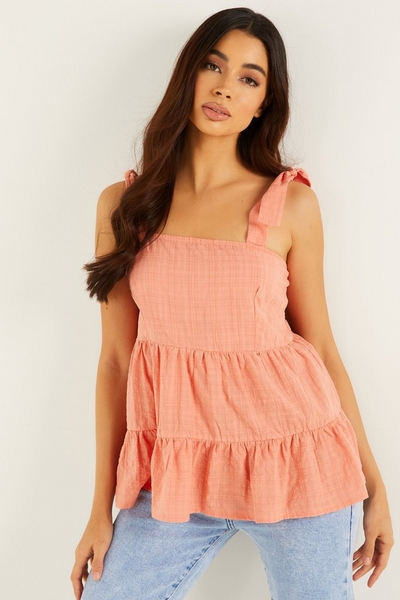 Coral Woven Smock Top