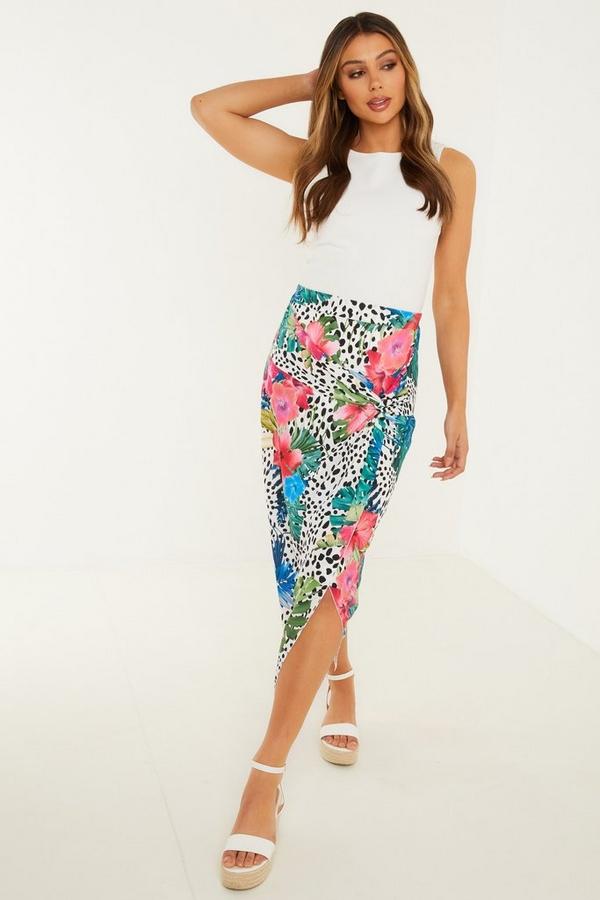 Multicoloured Tropical Print Midi Skirt