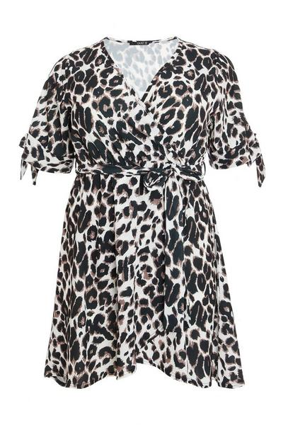 Curve Cream Animal Wrap Dress