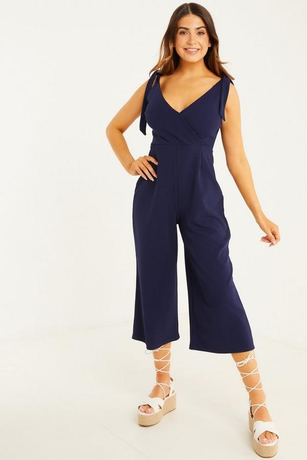 Petite Navy Wrap Culotte Jumpsuit