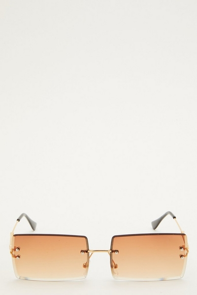 Brown Retro Rectangle Sunglasses