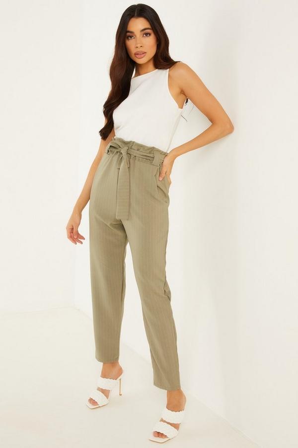 Khaki Pinstripe Paper Bag Trousers