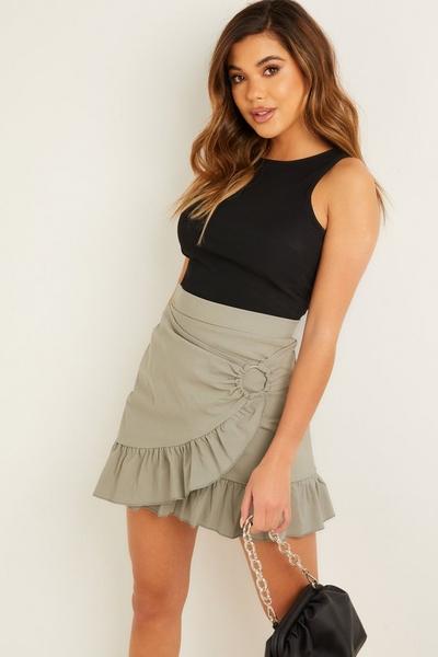 Khaki Frill Skirt