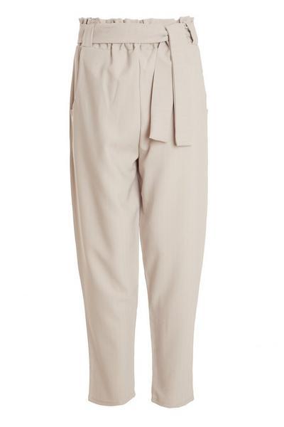 Stone Pinstripe Paper Bag Trousers