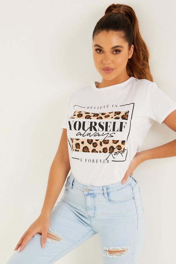 White Animal Slogan T Shirt