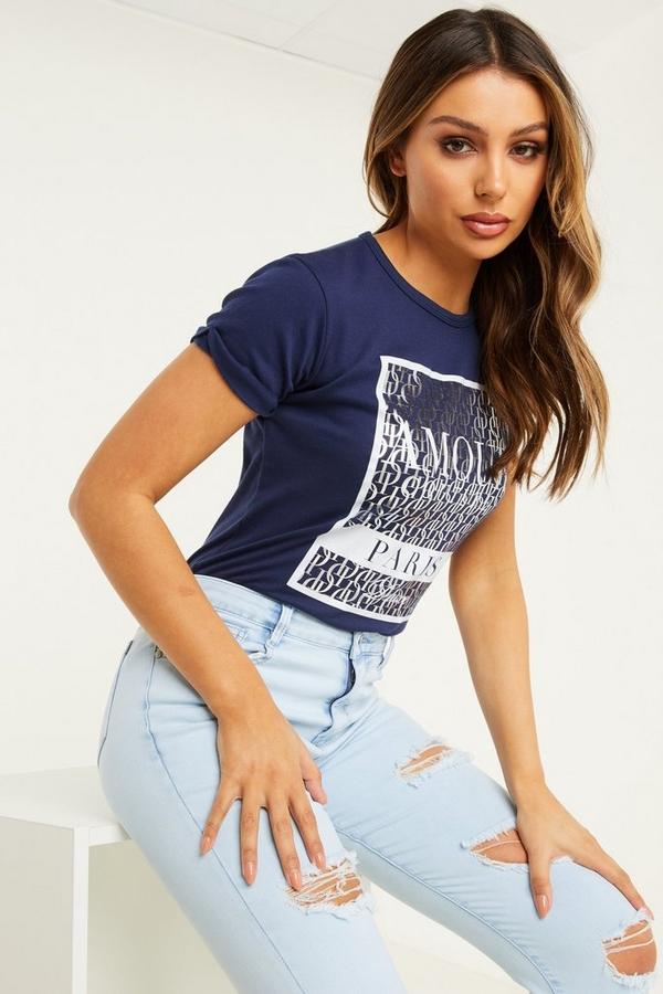 Navy Slogan T Shirt