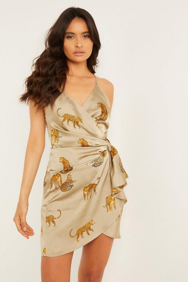 Khaki Satin Leopard Print Wrap Dress