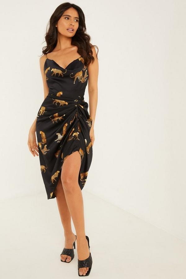 Black Satin Leopard Print Midi Dress