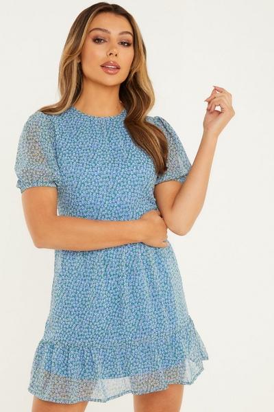 Blue Floral Chiffon Skater Dress