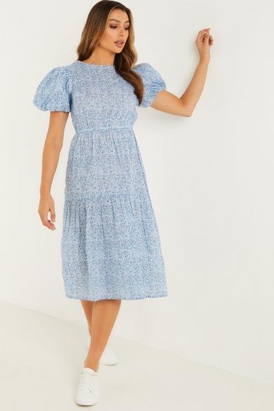 Pale Blue Floral Midi Dress