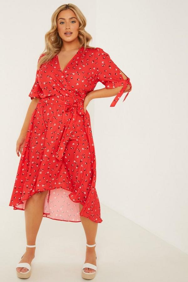 Curve Red Floral Wrap Midi Dress