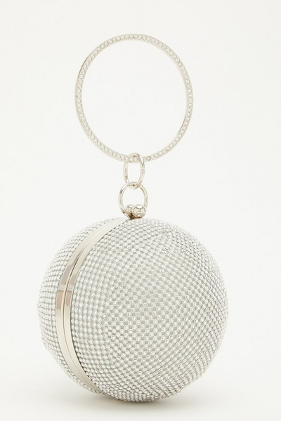 Silver Diamante Sphere Bag