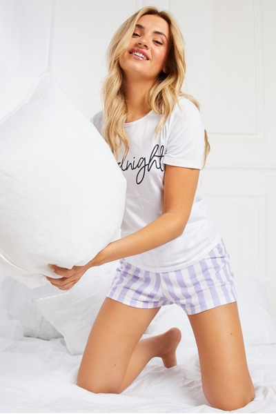 Lilac Stripe Short Pyjama Set