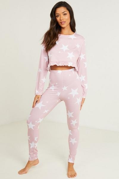 Pink Star Print Long Pyjama Set