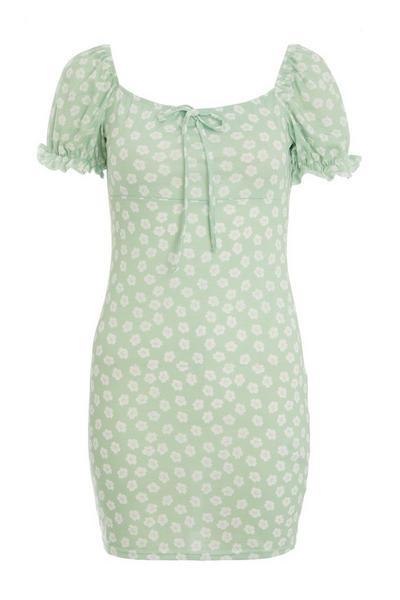 Petite Sage Floral Bodycon Dress