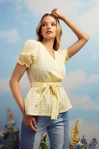 Yellow Gingham Wrap Top