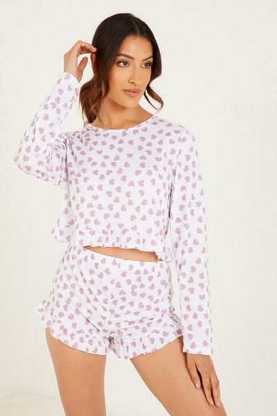 White Heart Print Short Pyjama Set