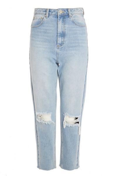 Light Blue Denim Ripped Mom Jeans