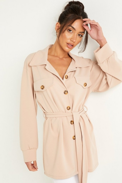 Stone Button Front Shacket
