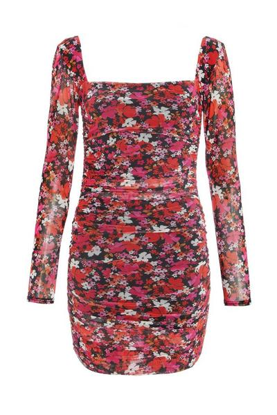 Pink Floral Ruched Bodycon Dress