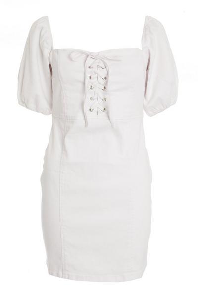 White Denim Bodycon Dress