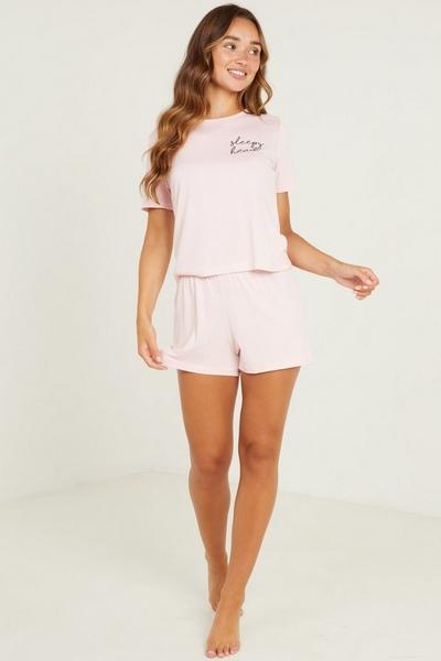 Pink 'Sleepy Head' Short Pyjama Set