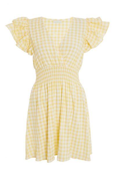 Yellow Gingham Wrap Skater Dress