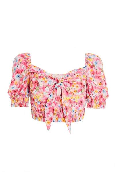 Pink Floral Shirred Crop Top