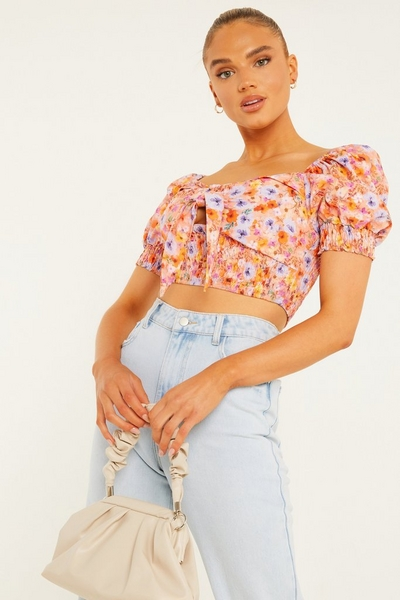 Orange Floral Shirred Crop Top