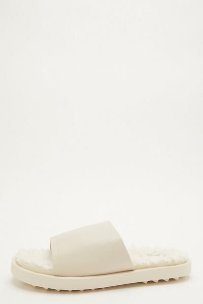 Cream Fleece Lined Sliders