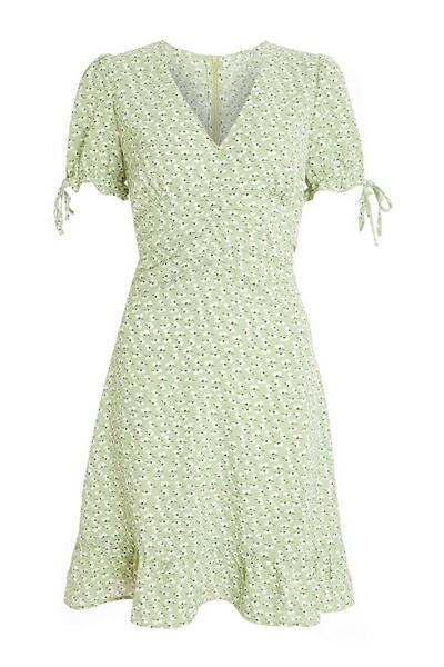 Sage Floral Ruched Skater Dress
