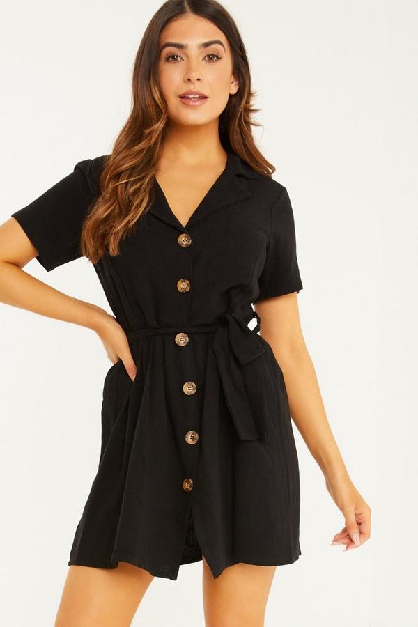 Petite Black Linen Skater Dress
