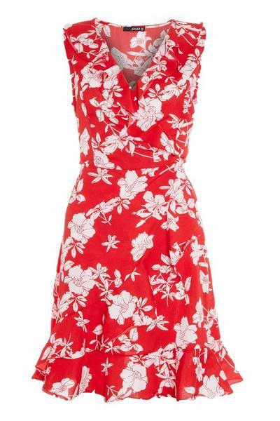 Red Floral Wrap Skater Dress
