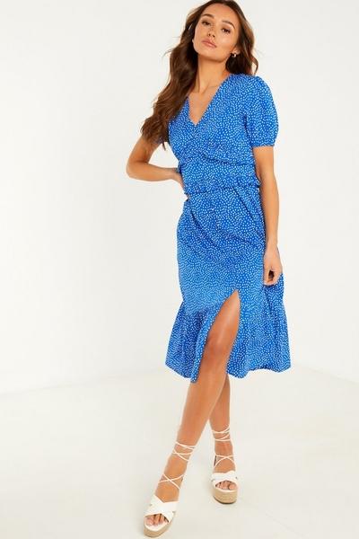 Blue Polka Dot Midi Dress
