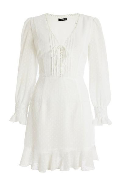 Cream Chiffon Lace Up Dress