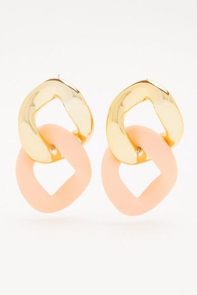 Peach Chain Drop Earrings