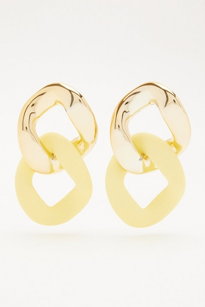 Yellow Chain Drop Earrings