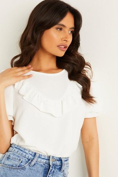 Cream Frill T Shirt