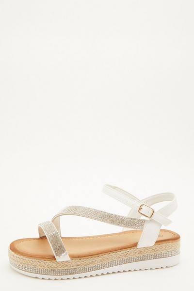 White Diamante Flatform Sandals