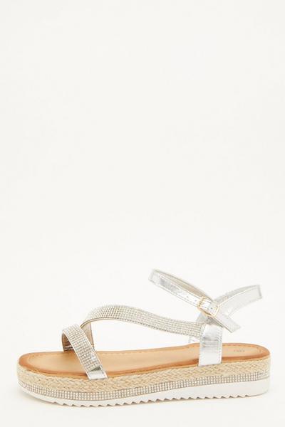 Silver Diamante Flatform Sandals