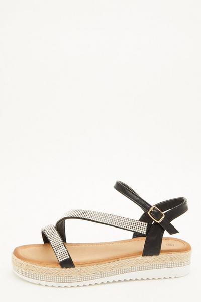 Black Diamante Flatform Sandals