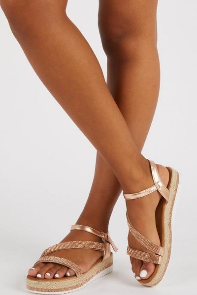 Rose Gold Diamante Flatform Sandals