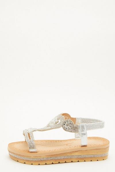 Silver Diamante Flatform Wedges