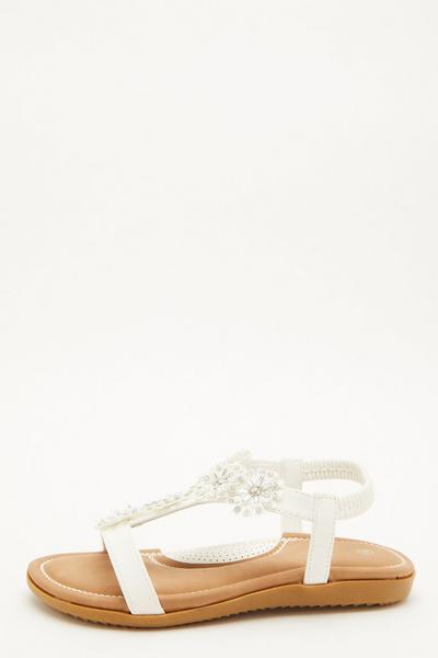 Comfort White Flower T-Bar Sandals