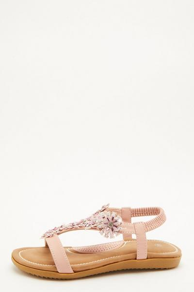 Comfort Pink Flower T-Bar Sandals