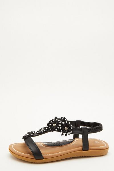 Comfort Black Flower T-Bar Sandals