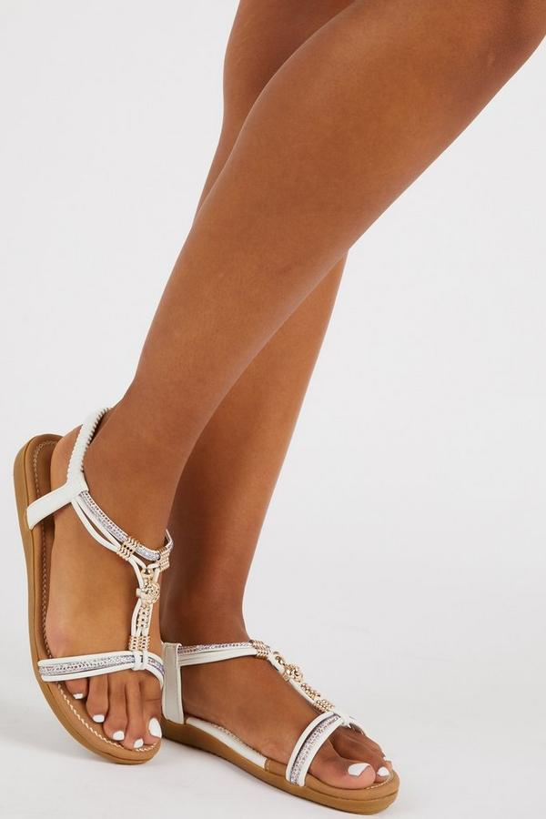 Comfort White Embellished Sandals